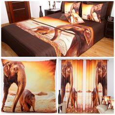 hnedo-oranžová sada do spálne so slonom a sloníčaťom Bed, Painting, Furniture, Home Decor, Stream Bed, Painting Art, Paintings, Home Furnishings, Paint