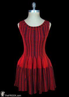 Azzedine Alaïa dress, red and black stretch knit, sleeveless body con mini dress, geometric op art pattern, couture, Alaia