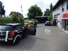 DAY 2 - Drove to Nurburg Ring, looked around for anyone that could help me with a steering wheel shimmy/shudder that I wanted to sort before taking it to the track. Found this place nearby and they were very eager to help! So off came the tires for balancing.