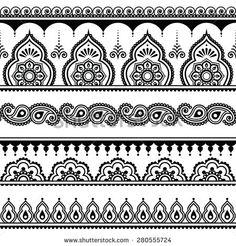 stock-vector-mehndi-indian-henna-tattoo-seamless-pattern-design-elements-280555724.jpg (450×470)