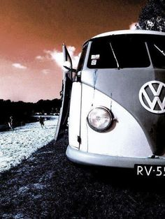 VW bus Black and white red sky