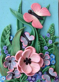 *POLYMER CLAY ~ Pink Butterfly Garden ACEO by ZudaGay, via Flickr