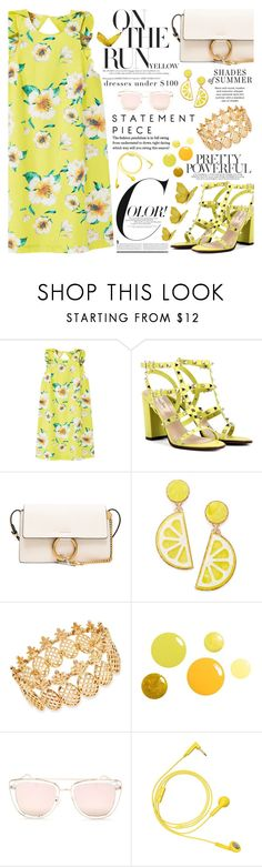 """Under $100: Summer Dresses"" by martinabb ❤ liked on Polyvore featuring MANGO, Valentino, Chloé, Celebrate Shop, INC International Concepts, Quay and Happy Plugs"