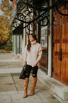 neutral turtleneck sweater, cozy style, camel turtleneck sweater, cozy sweater, sam edelman over the knee boots, brown over the knee boots, winter style, chicwish turtleneck sweater, winter fashion, southern fashion blogger, cute fall outfit, fall style // grace wainwright a southern drawl