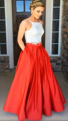 Prom Dress,Spaghetti Straps Prom Dresses, Simple Two Piece#prom #promdress #dress #eveningdress #evening #fashion #love #shopping #art #dress #women #mermaid #SEXY #SexyGirl #PromDresses