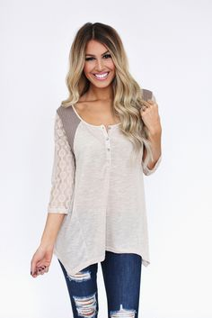 Two Tone Lace Sleeve Top - Dottie Couture Boutique