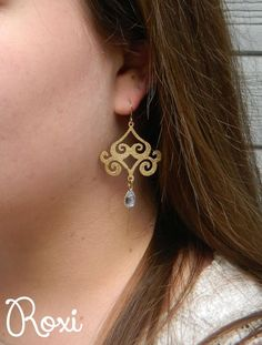 Glitter Gold Filigree Earrings | Roxi Collection