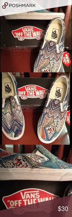 Vans Abstract Slip Ons Brand new with original box. Style name is Abstract Multi. Canvas upper with rubber sole. These were used as display shoes in a department store fashion shoe. Vans Shoes Flats & Loafers