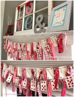 Enjoy these Valentine's Day Decor for your home with a focus on fourteen inspiring Valentine Mantel Ideas - Happy Valentine's Day! Enjoy these Valentine's Day Decor for your home with a focus on fourteen inspiring Valentine Mantel Ideas Valentine Day Wreaths, Valentines Day Party, Valentines Day Decorations, Valentine Day Crafts, Vintage Valentines, Happy Valentines Day, Holiday Crafts, Valentinstag Party, Diy Valentine's Day Decorations