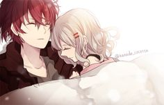 Anime couple ayato and yui getting all cuddly in bed ;) Diabolik Lovers