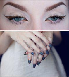 Golden make-up and nails. Gold Eye Makeup, Blue Makeup, Makeup Art, Hair Makeup, Blue Eyeliner, Winged Eyeliner, Beauty Make Up, Hair Beauty, Grunge