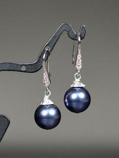 Dark blue earrings. Wedding Jewelry Bridesmaid Gift Bridesmaid Bridal Jewelry navy blue sapphire Pearl Drop Cubic Zirconia Earrings Necklace bracelet    ***