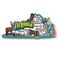 Our Virginia jumbo state magnet measures approximately 9 square inches and has a thickness of 0.1. This Classic Virginia State Jumbo Magnet is perfect for any refrigerator or metal surface and makes a