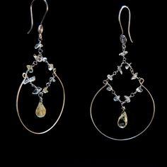 Orecchini chandelier quarzo citrino, orecchini cerchio, orecchini eleganti, orecchini grandi, regalo per lei, orecchini estate, 2016 di NellaBorsadiMaryPopp su Etsy