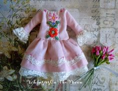Blythe French Chic One Piece Pink Dress with by WhimsiesOnTheMoon