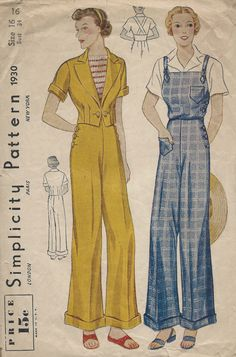 1930s Vintage Sewing Pattern B34 OVERALLS TROUSERS & JACKET (1259) by tvpstore on Etsy