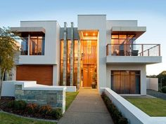 Concrete modern house exterior with balcony & feature lighting - House Facade photo 215564