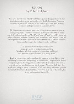 Union by Robert Fulghum | Wedding Readings | http://www.rockmywedding.co.uk/reading-ideas-for-your-wedding-ceremony/