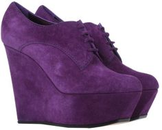 Casadei LaceUp Shoes in Purple #wedges #shoes