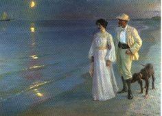 skagenmalerne | Peter Severin Krøyer , Sommerabend am Strand von Skagen