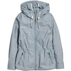 H&M Jacket in cotton twill ($30) ❤ liked on Polyvore featuring outerwear, jackets, tops, coats, h&m jackets, h&m, drawstring jacket, blue jackets and cotton twill jacket