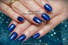 Gelish Dark Cobalt Glitter nails by www.funkyfingersfactory.com