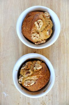 vegan banana nut muffins for two