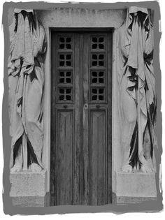 doors with ghost-like sculptures at Cimetière du Père-Lachaise, Paris via have some decorum