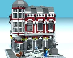 Brickenberg's quest for supporters continue for his Modular Pedestrian Street series. The 2850 piece model, in addition to the cool architecture, comes with a comic describing the exci… Sims Building, Lego Building, Casa Lego, Lego Furniture, Lego City Sets, Lego Boards, Lego Pictures, Lego Modular, Cool Lego Creations