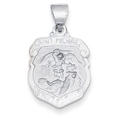 14k White Gold Polished and Satin St. Michael Medal Pendant, Women's