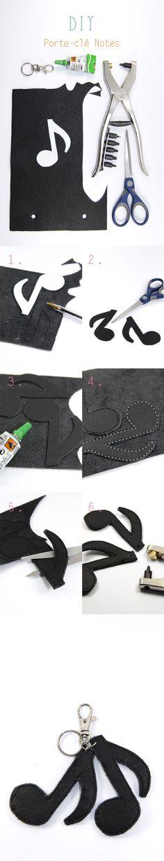 Encore un petit bricolage vraiment facile et rapide, le porte-clés note de musique. Pour réaliser ce porte clé il vous faudra Des chutes de cuir noir ou du faux cuir ou de la feutrine épaisse. vous...