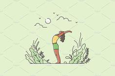 Set of 6 Hand Drawn Yoga Practice Vector Illustrations! House Illustration, People Illustration, Graphic Illustration, Vector Illustrations, Poster Drawing, Typography Logo, Logo Design Inspiration, How To Do Yoga, Branding Design