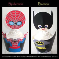 Batman and Spiderman Cupcake Wrappers and Toppers- Digital File - Super Hero Party Decorations - Print at Home. $4.00, via Etsy.