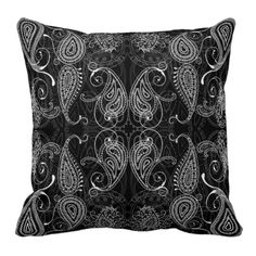 Black Paisley Pillow