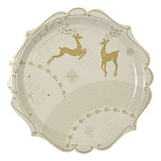 Crystal Christmas Golden Reindeer Large Plates