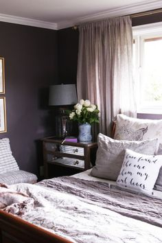 Black Frosted Plum Wall Color - Dark and Cozy Bedroom from The Inspired Room