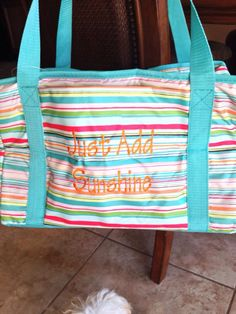 Tangerine embroidery on sunny stripe. Thirty-one gifts. 50% off Fresh Market Thermal in May! #totes #personalize #getthisbag