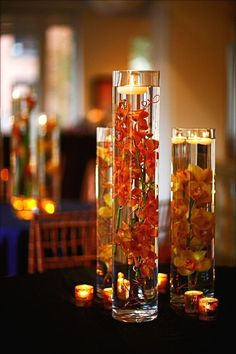 New Wedding Centerpieces Diy Coral Floating Candles Ideas Floating Candles Wedding, Floating Candle Centerpieces, Orchid Centerpieces, Fall Wedding Centerpieces, Unity Candle, Beta Fish Centerpiece, Quinceanera Centerpieces, Submerged Flowers, Orchids