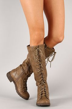 Liliana Theresa-1 Buckle Military Lace Up Knee High Boot