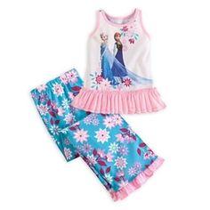 Girls Size 7//8 M Disney Frozen Anna and Elsa Premium Pajama Set