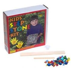 """Milestones, Kids' Step Stone Kit Create a treasured childhood keepsake in 3 easy steps, simply mix, pour, and decorate. Kit contains: 3.5 lbs. of stepping stone mix, 8"""" reusable plastic mold, 2 oz. rainbow rock, 1 oz. glass gems, 1 oz. glitter pot, 1 wooden mixing paddle, 1 writing tool, and easy-to-follow instructions.  Price : $19.79 http://www.thinkfasttoys.com/Milestones-Kids-Step-Stone-Kit/dp/B00000IS31"""