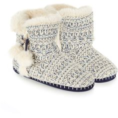 Accessorize Textured Knitted Mid Boot Slippers ($37) ❤ liked on Polyvore featuring shoes and slippers