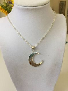 Crescent Moon Silver Charm Necklace