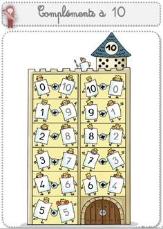 Compléments à 10 - Le petit cartable de Sanleane Primary Teaching, Primary School, Teaching Math, Classroom Board, Classroom Decor, Math Numbers, Letters And Numbers, Math Games, Math Activities
