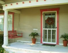 Welcoming Entries: Fall Outdoor Decorating Ideas: Red Porch Swing