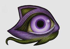 MINIMON occhio  illustrazione colore matita disegno di NuArtShop