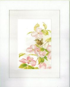 Pink Flowers With A Little Bird - Cross Stitch Kit