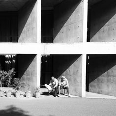 Soaking up the sun in one of the brise-soleil, The Secretariat designed by Le Corbusier at Chandigarh