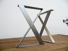 28 H x 24 W X-Frame Wide Flat Stainless Steel Table by Balasagun