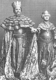 Russian actors Nikolai Osipovich Massalitinov and Olga Knipper (wife of Anton Pavlovich Chekhov) as Claudius and Gertrude in Edward Gordon Craig and Constantin Stanislavski's production of Hamlet (1911)